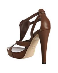 Gucci | Brown Cognac Leather Icon Bit T-strap Platform Sandals | Lyst