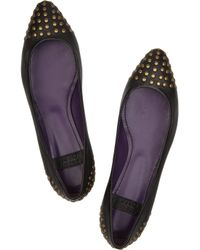 See By Chloé - Black Studded Leather Flats - Lyst