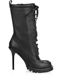 Tory Burch - Black Lace-up Leather Calf-length Boots - Lyst