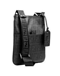 Fendi | Black Zucca Spalmati Small Flat Messenger Bag | Lyst