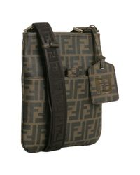 Fendi | Brown Zucca Spalmati Messenger Bag | Lyst