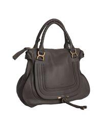 Chloé | Gray Ash Pebbled Calfskin Marcie Shoulder Bag | Lyst