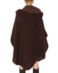 Ferragamo - Brown Net Knit Cape Coat - Lyst