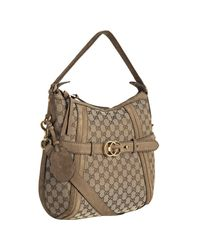 Gucci - Natural Beige Gg Canvas and Suede Running Logo Buckle Shoulder Bag - Lyst