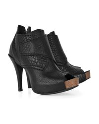 Pedro Garcia | Black Chenoa Leather Peep-toe Ankle Boots | Lyst