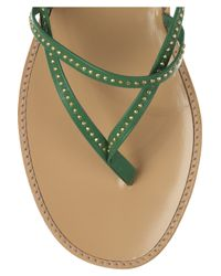 Vanessa Bruno Athé - Green Studded Leather Flat Sandals - Lyst
