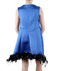 Saint Laurent - Blue Cashmere Duchesse Dress - Lyst