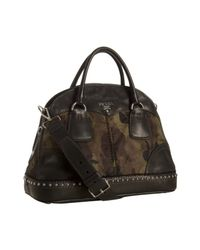 Prada | Green Camouflage Nylon Leather Trim Bowler Bag | Lyst