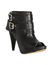 Vince Camuto | Black Leather Flore Peep Toe Buckle Booties | Lyst