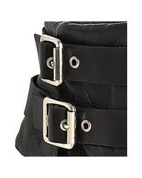 Vince Camuto - Black Leather Flore Peep Toe Buckle Booties - Lyst