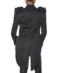 Balmain - Black Embroidered Detail Tail Coat Jacket - Lyst