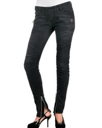 Balmain - Black Stretch Worn Out Quilted Jeans - Lyst
