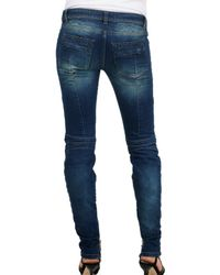 Balmain - Blue Stretch Demin Destroyed Quilted Jeans - Lyst