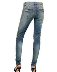 Balmain - Blue Stretch Quilted Cropped Leg Jeans - Lyst