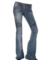 Balmain | Blue Washed Destroyed Flared Biker Jeans | Lyst