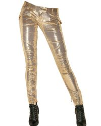 Balmain | Metallic Gold Toned Biker Pants | Lyst