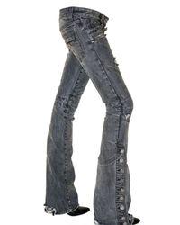 Balmain - Gray Destroyed Flared Biker Jeans - Lyst
