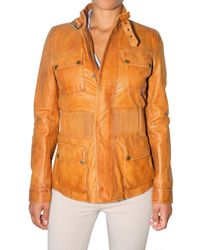 Belstaff | Yellow Long Brian Leather Jacket | Lyst
