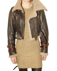 Burberry Prorsum | Brown Shearling Aviator Leather Jacket | Lyst