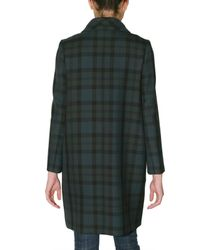Chloé | Green Double Face Scottish Plaid Coat | Lyst