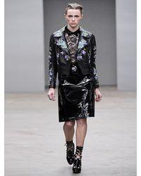 Christopher Kane - Black Embroidered Leather Biker Jacket - Lyst