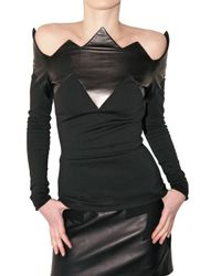 David Koma | Black Stretch Wool and Leather Top | Lyst