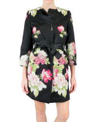 Dolce & Gabbana | Black Jacquard Floral Coat | Lyst
