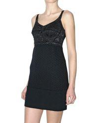 Dolce & Gabbana - Black Lace and Crochet Wool Bustier Dress - Lyst