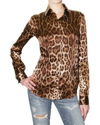 Dolce & Gabbana | Multicolor Leopard Print Stretch Satin Shirt | Lyst