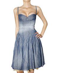 DSquared² | Blue Cotton Linen Denim Dress | Lyst