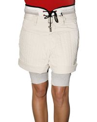 DSquared²   Natural Cotton Twill and Jersey Rugby Shorts   Lyst