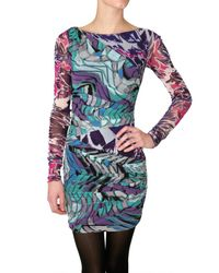 Emilio Pucci | Multicolor Gathered Printed Stretch Gauze Dress | Lyst