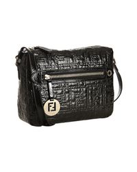 Fendi | Black Zucca Quilted Patent Leather Crossbody Bag | Lyst