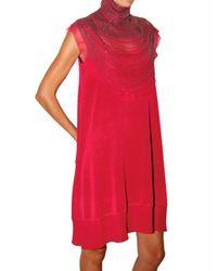 Ferragamo   Red Jewel Neck Viscose Knit Dress   Lyst