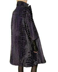Ferragamo - Black Crocodile Embossed Double-breasted Fur C - Lyst