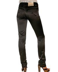 John Galliano - Black Stretch Satin Five Pocket Trousers - Lyst