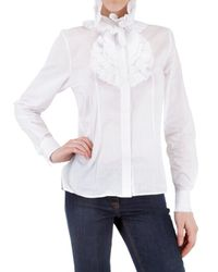 Givenchy | White Cotton Voile Ruffle Shirt | Lyst