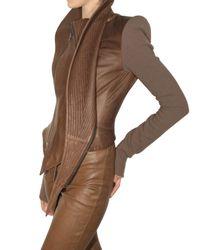 Haider Ackermann | Brown Wool Sleeves Leather Jacket | Lyst