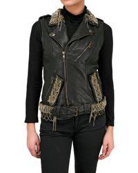 Jo No Fui | Black Nappa Leather Embroidery Vest | Lyst