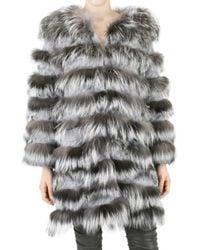Jo No Fui - Gray Silver Fox Fur Coat - Lyst