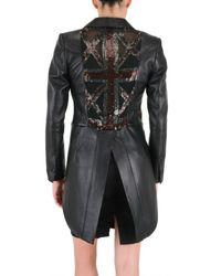 John Richmond - Black Back Embroidered Tailcoat/ Leather Jacket - Lyst