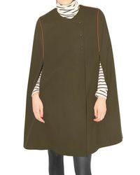 JOSEPH | Brown Wool Tricotine Cape Coat | Lyst
