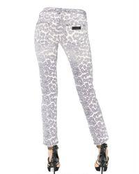 Just Cavalli - White Leopard Print Stretch Denim Jeans - Lyst