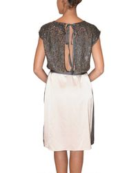 Just In Case - Gray Sequin Embroidered Silk Dress - Lyst