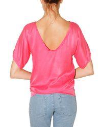 Lanvin - Pink Washed Silk Satin T-shirt - Lyst