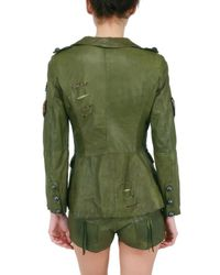 Le Cuir Perdu | Green Leather Military Jacket | Lyst