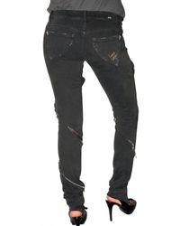 Loha Vete - Black Lace Zipper Stretch Denim Jeans - Lyst