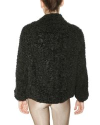 Meteo by Yves Salomon | Black Knit Kalgan Fur Coat | Lyst