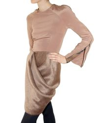 Michael Angel | Pink Silk Crepe and Alpaca Dress | Lyst