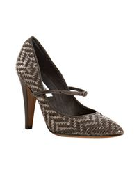 Moschino - Gray Grey Basketwoven Leather Mary-jane Pumps - Lyst